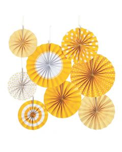 School Bus Yellow Hanging Paper Fan Assortment