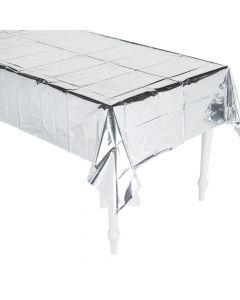 Shiny Metallic Silver Foil Tablecloth