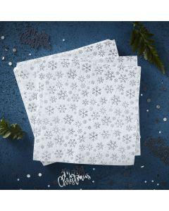Silver Christmas Snowflake Napkins