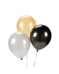 """Silver, Gold and Black 11"""" Latex Balloon Assortment"""