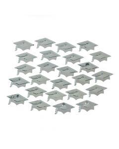 Silver Graduation Cap Confetti