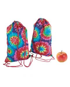 Small Colorful Tie-Dyed Drawstring Bags