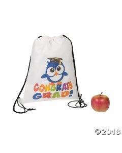 Small Congrats Grad Owl Drawstring Bags