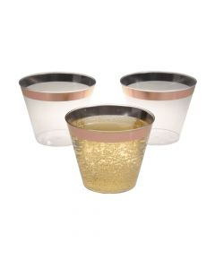 Small Plastic Cups with Rose Gold Trim - 50 Pc.