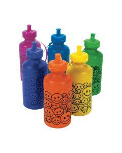 Smile Face Neon Plastic Water Bottles
