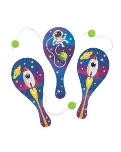 Space Paddle Ball Games with Glow-in-the-Dark Balls
