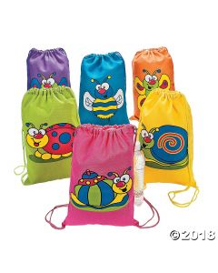 Spring Bug Canvas Drawstring Backpacks