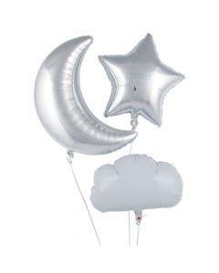 Star, Cloud and Moon Mylar Balloons