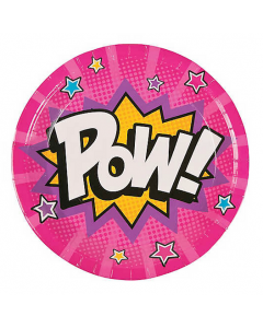 Superhero Girl Paper Lunch Plates