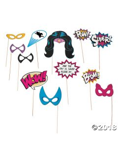 Superhero Girl Photo Stick Props