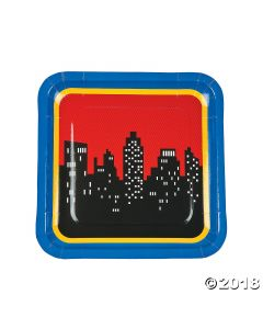 Superhero Square Paper Lunch Plates