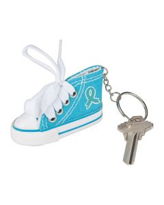 Teal Awareness Ribbon Sneaker Keychains
