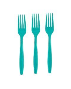 Teal Lagoon Plastic Forks