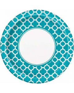 Teal Quatrefoil Dinner Plate