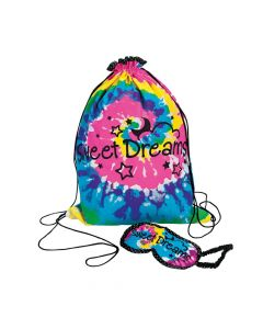 Tie-Dyed Sleepover Drawstring Bag with Eye Mask