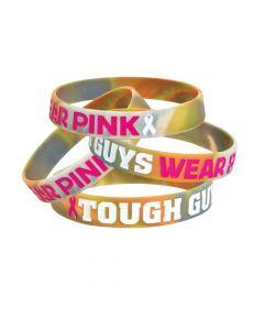Tough Guys Camo Pink Ribbon Rubber Bracelets