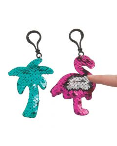 Tropical Reversible Sequin Backpack Clip Keychains