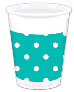 Turquoise Dots Plastic Cup