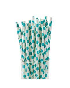 Turquoise Polka Dot Paper Straws