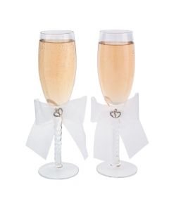 Two Hearts Wedding Champagne Flute Set