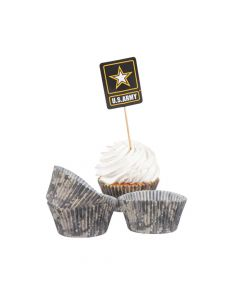 U.S. Army Logo Cupcake Wrappers with Picks