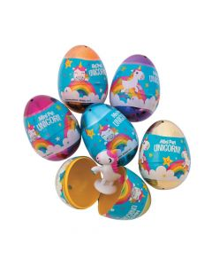 Unicorn-Filled Plastic Easter Eggs - 12 Pc.