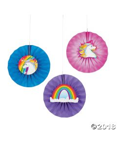 Unicorn Hanging Fans with Icons