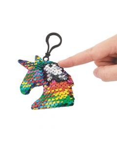 Unicorn Reversible Sequin Backpack Clip Keychains