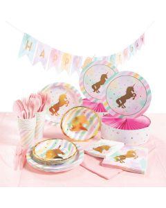 Unicorn Sparkle Tableware Party Kit for 16
