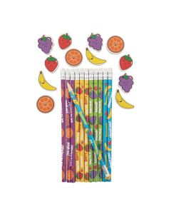Valentine Fruit Pencils with Scented Erasers