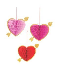 Valentine Hanging Honeycomb Hearts