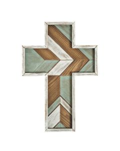 Wall Cross Decoration with Layered Rustic Accent