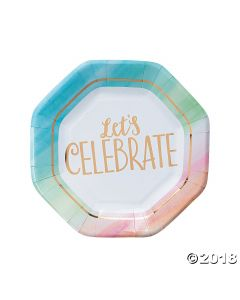 Watercolor Rainbow Paper Lunch Plates