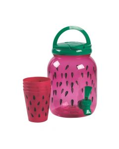 Watermelon Drink Dispenser with Cups