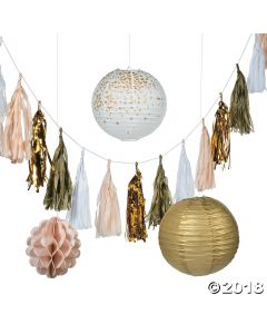White & Gold Hanging Decorations Kit