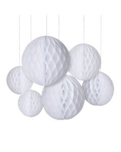 White Hanging Honeycomb Decorations