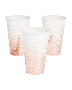 White with Rose Gold Foil Dots Paper Cups