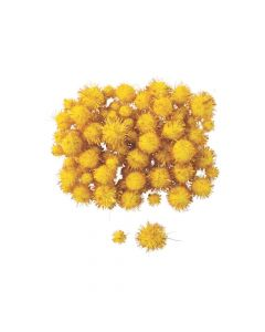 Yellow Tinsel Pom-Poms