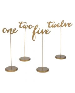 1 - 12 Gold Calligraphy Table Numbers