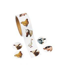 100 Farm Animal Sticker Rolls