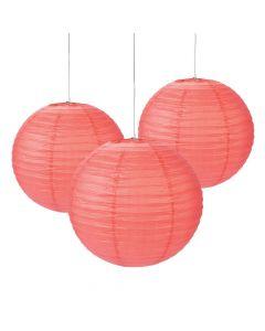 """18"""" Coral Hanging Paper Lanterns"""