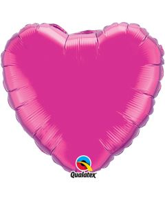 18 Inch Foil Heart Magenta Plainl