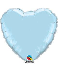 18 Inch Foil Heart Pearl Light Blue Plain