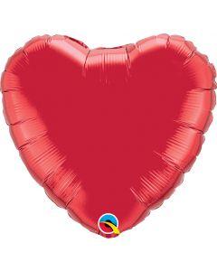 18 Inch Foil Heart Ruby Red Plain