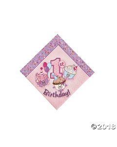 1st Birthday Cupcake Beverage Napkin