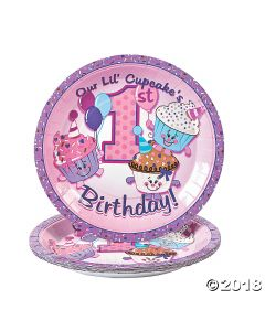 1st Birthday Cupcake Paper Lunch Plate