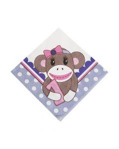 1st Birthday Miss Sock Monkey Luncheon Napkins