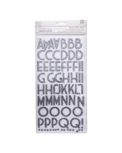 American Crafts Thickers 3D Wisecrack Silver Glitter Alphabet Stickers