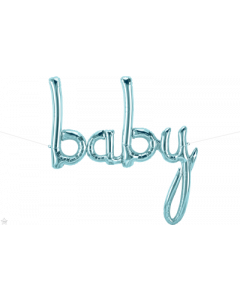 Baby Scipt Pastel Blue Air Filled Foil Balloon
