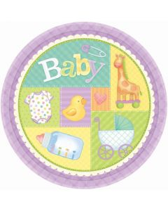 Baby Shower Pastel Patchwork Plates